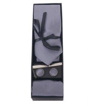 Cadeau-set van stropdas, pochet en manchetknopen in grijs