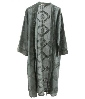 Lange katoenen broderie kimono in legergroen