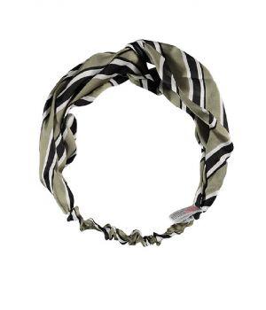 Rekbare haarband met strepen in legergroen