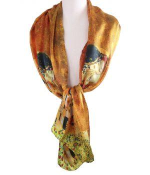 """Zijden sjaal met print van de """"de Kus"""" van Gustav Klimt"""