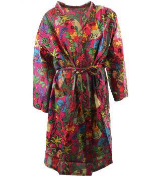 Hardroze katoenen kimono met Frida Kahlo print