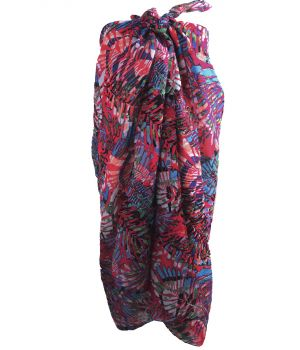 Fuchsia sarong met tropische bladeren print