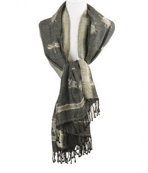 Gemêleerde sjaal in grijs-zwart met geweven insectenpatroon