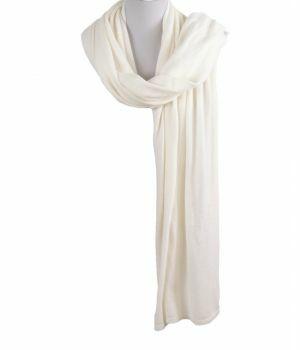 Kasjmier-blend sjaal/omslagdoek in ivoor
