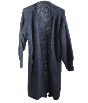 Lange mohair-blend vest in jeansblauw
