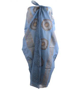 Jeansblauwe sarong met Griekse ornamenten print