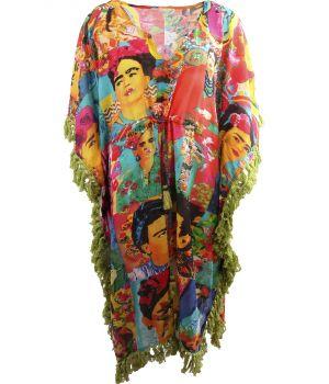 Lange katoenen kaftan met Frida Kahlo print