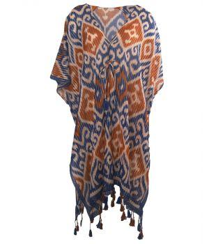 Katoenen kimono in donkerblauw en bruin