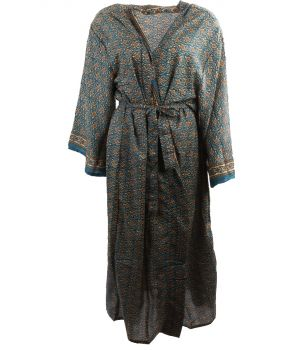 Lange zijde-blend kimono in petrol met bloemenprint