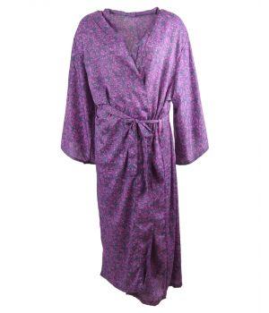 Lange zijde-blend kimono in grijs-paars