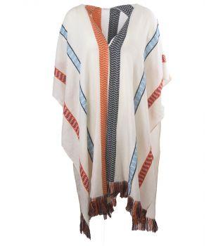 Kimono met geweven strepen en franjes