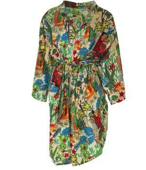 Korte lichtbeige katoenen kimono met Frida Kahlo print