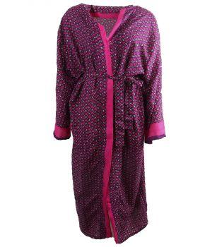 Lange zijde-blend kimono in donkerpaars met rozenprint