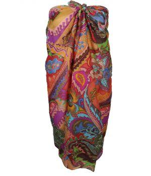 Katoenen sarong met bloemen- en azteken print