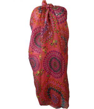 Koraalroze sarong met edelstenen print