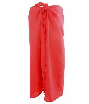 Katoenen sarong in koraalroze met kwasten franje