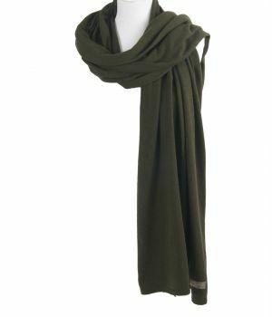 Kasjmier-blend sjaal/omslagdoek in legergroen