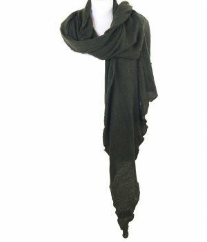 Legergroene fijngebreide kasjmier-blend sjaal/stola