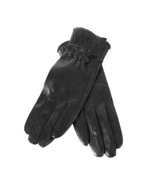 Zwarte lederen handschoenen met beklede knoopjes