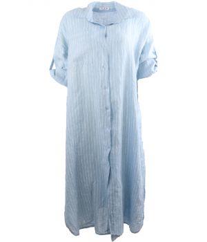 Lichtblauwe linnen jurk met strepen
