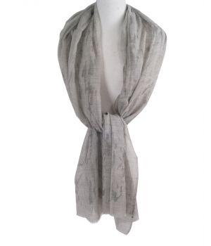 Lichtgrijze wollen mousseline sjaal met zilveren vlokken
