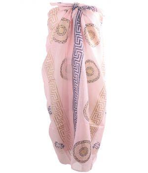 Lichtroze sarong met Griekse ornamenten print