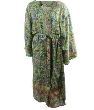 Lange zijde-blend kimono in limegroen met bloemenprint