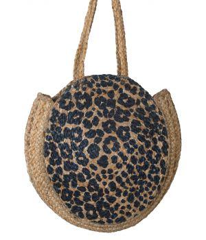 Strooien ronde strandtas met panterprint