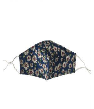 Verstelbaar katoenen mondkapje in donker-jeansblauw met bloemenprint