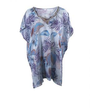 Blauwe tuniek met print van tropische bladeren