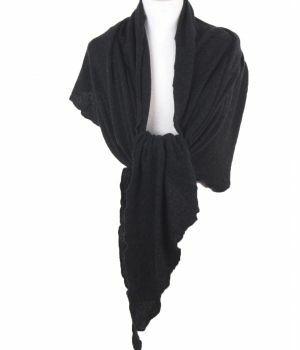 Antraciet kleurige kasjmier-blend sjaal/stola