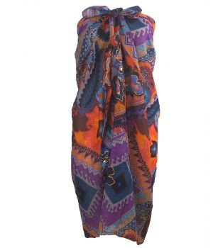Paarse sarong met ornament- en bloemenprint
