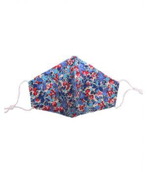 Katoenen verstelbaar mondkapje in floral print in blauw