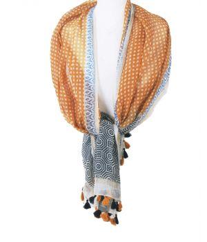 Katoenen/zijden sjaal met verschillende prints