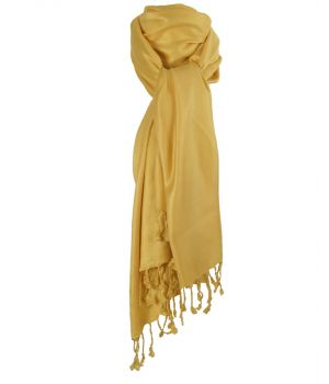 Okergele pashmina sjaal