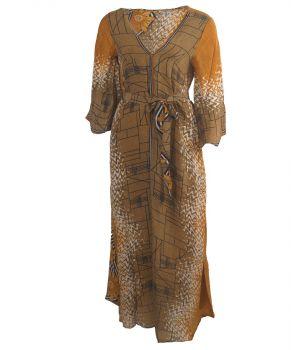 Zijden lange kimono met in okergeel en bruin