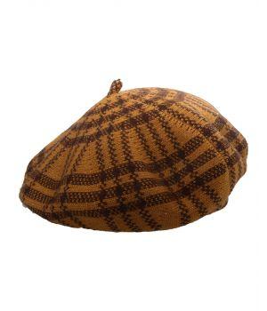 Fijn gebreide baret in okergeel met ruit