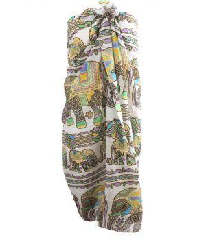 Witte sarong met olifantenprint