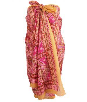 Okergele sarong met mozaïek print