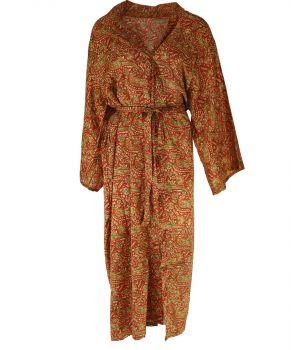 Lange oranje zijde-blend kimono met paisley print