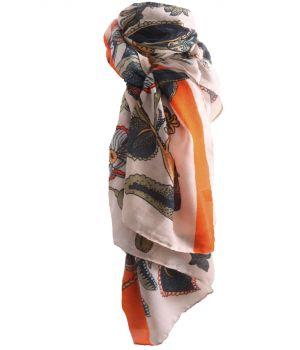 Sjaal met bloemenprint en streep in oranje