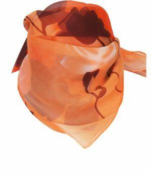 Oranje crêpe voile met rozen print