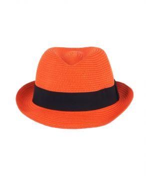 Oranje fedora hoed