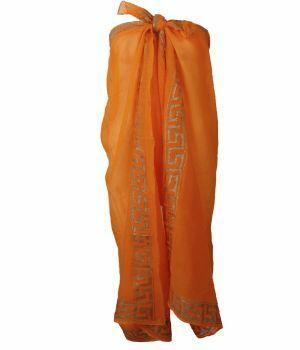 Oranje sarong met Griekse ornament print