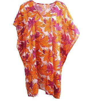 Katoenen tuniek met bloemenprint in oranje en fuchsia