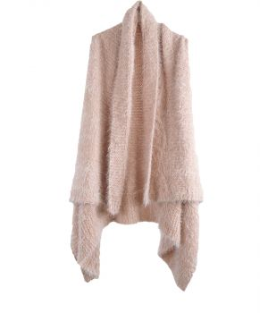 Fluffy gebreid mouwloos vest in poederroze