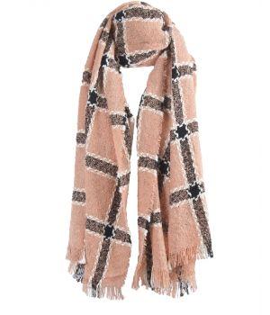 Lichtroze bouclé sjaal met ruitpatroon
