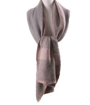 Zachte XL-sjaal met geweven ruiten in lichtroze