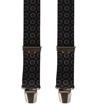 Zwarte bretels met Oxford print