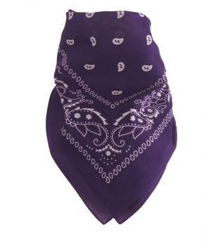 Paarse boerenzakdoek / bandana met klassiek motief